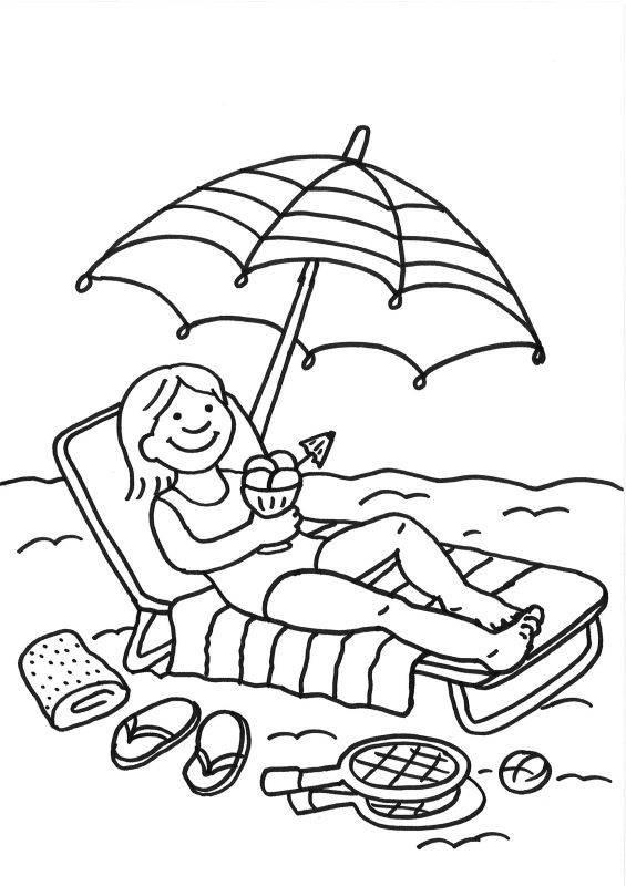 Ausmalbilder Strand Und Meer  Kostenlose Malvorlage Sommer Eisessen am Strand zum Ausmalen