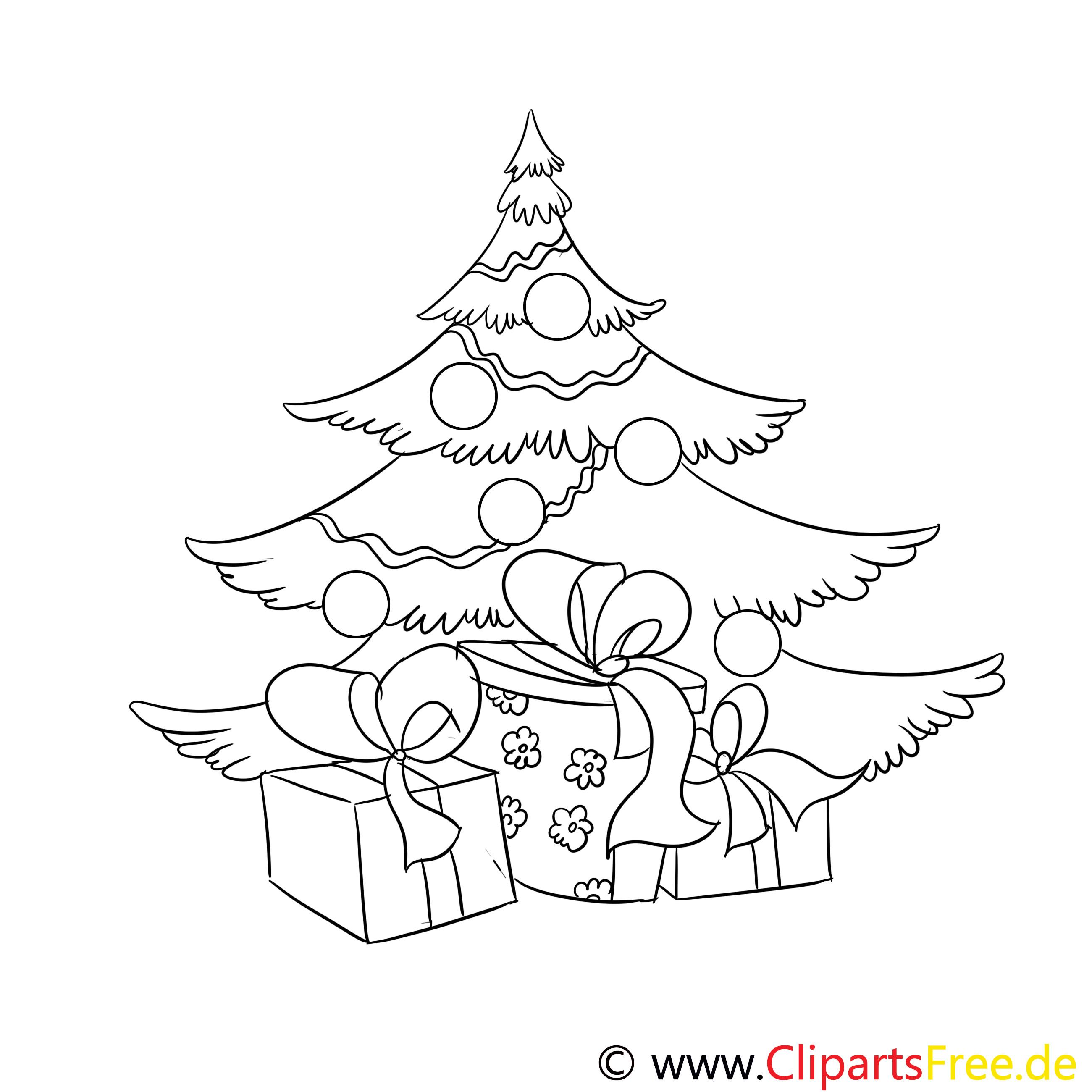 Ausmalbilder Weihnachten Tannenbaum Mit Geschenken  Geschenk Tannenbaum Ausmalbild Malvorlage Zum Drucken Und