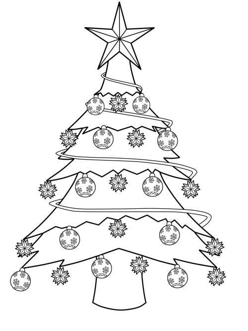 Ausmalbilder Weihnachten Tannenbaum Mit Geschenken  Kostenlose Malvorlage Weihnachtsbäume Geschmückter