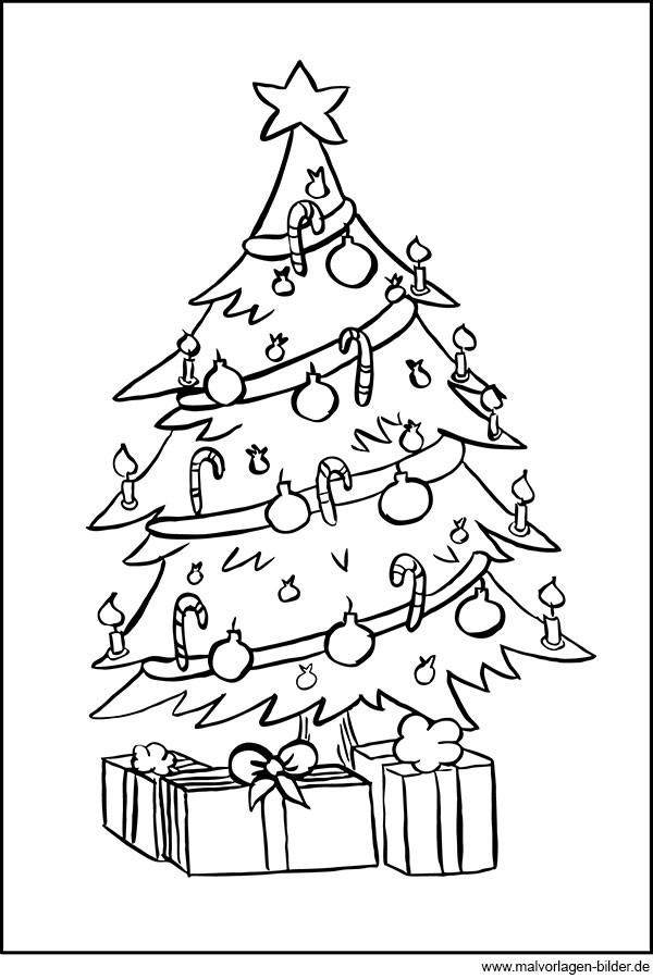 Ausmalbilder Weihnachten Tannenbaum Mit Geschenken  Ausmalbild Weihnachtsbaum und Geschenke zum Ausdrucken