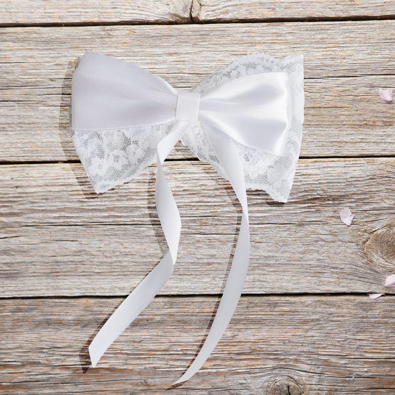 Autoschleifen Hochzeit Vintage  Schleife aus Spitze und Satin 4er Set