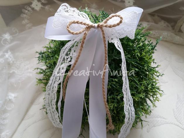 Autoschleifen Hochzeit Vintage  Hochzeitsdeko 10 St Autoschleifen VINTAGE SPITZE