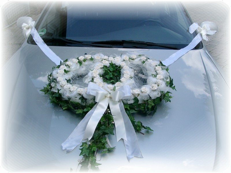Autoschmuck Hochzeit Befestigung  XXL Autoschmuck Autodeko Hochzeit Autoringe Doppelringe