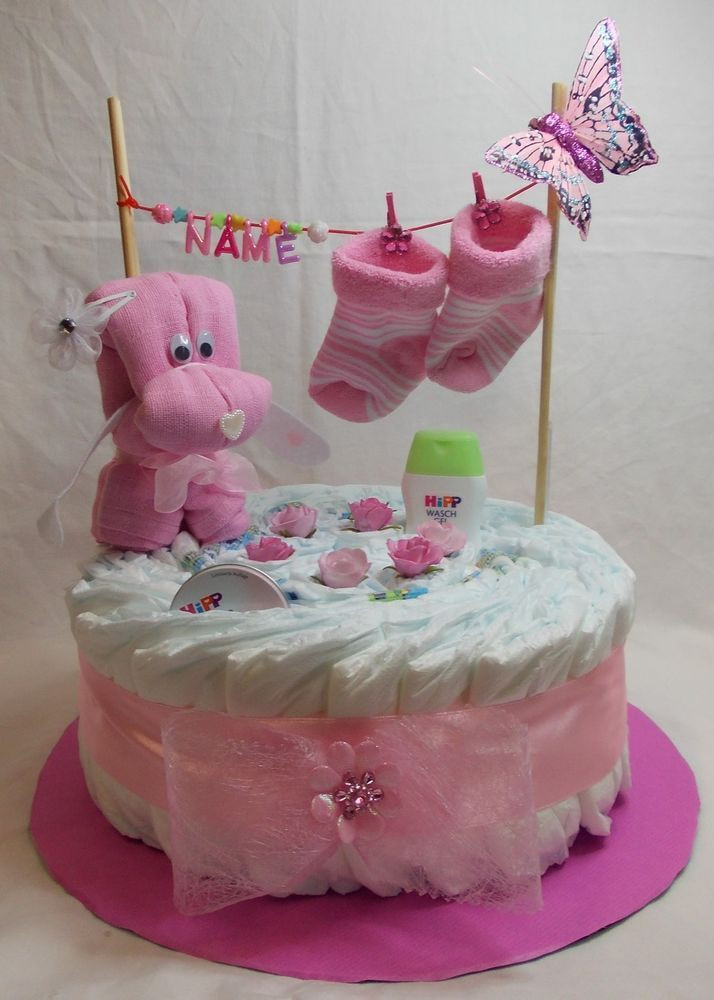 Baby Geschenke Selber Machen  Windeltorte rosa blau Babygeschenk Geburt Taufe Mädchen