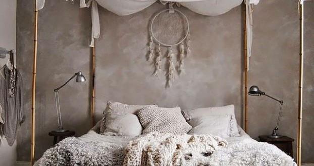 Baldachin Diy  schlafzimmer ideen im boho stil kleines schlafzimmer