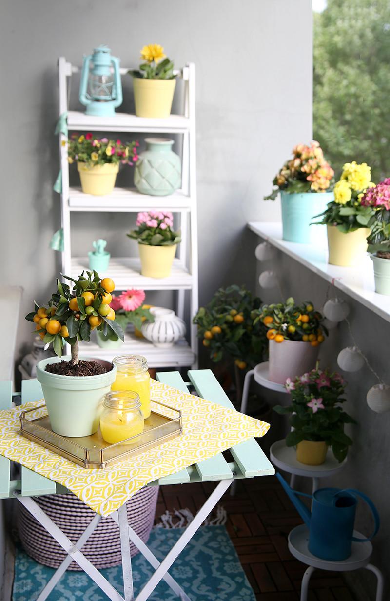 Balkon Deko Diy  DIY Citronella Kerzen & Balkon in Mint und Gelb