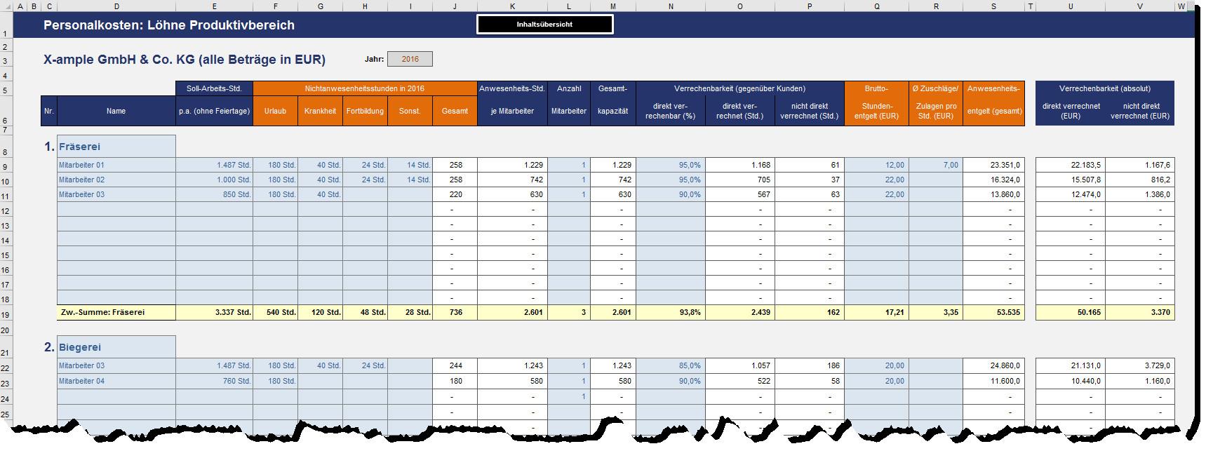 Berechnung Stundenverrechnungssatz Handwerk  Excel Stundenverrechnungssatz Vorlage für
