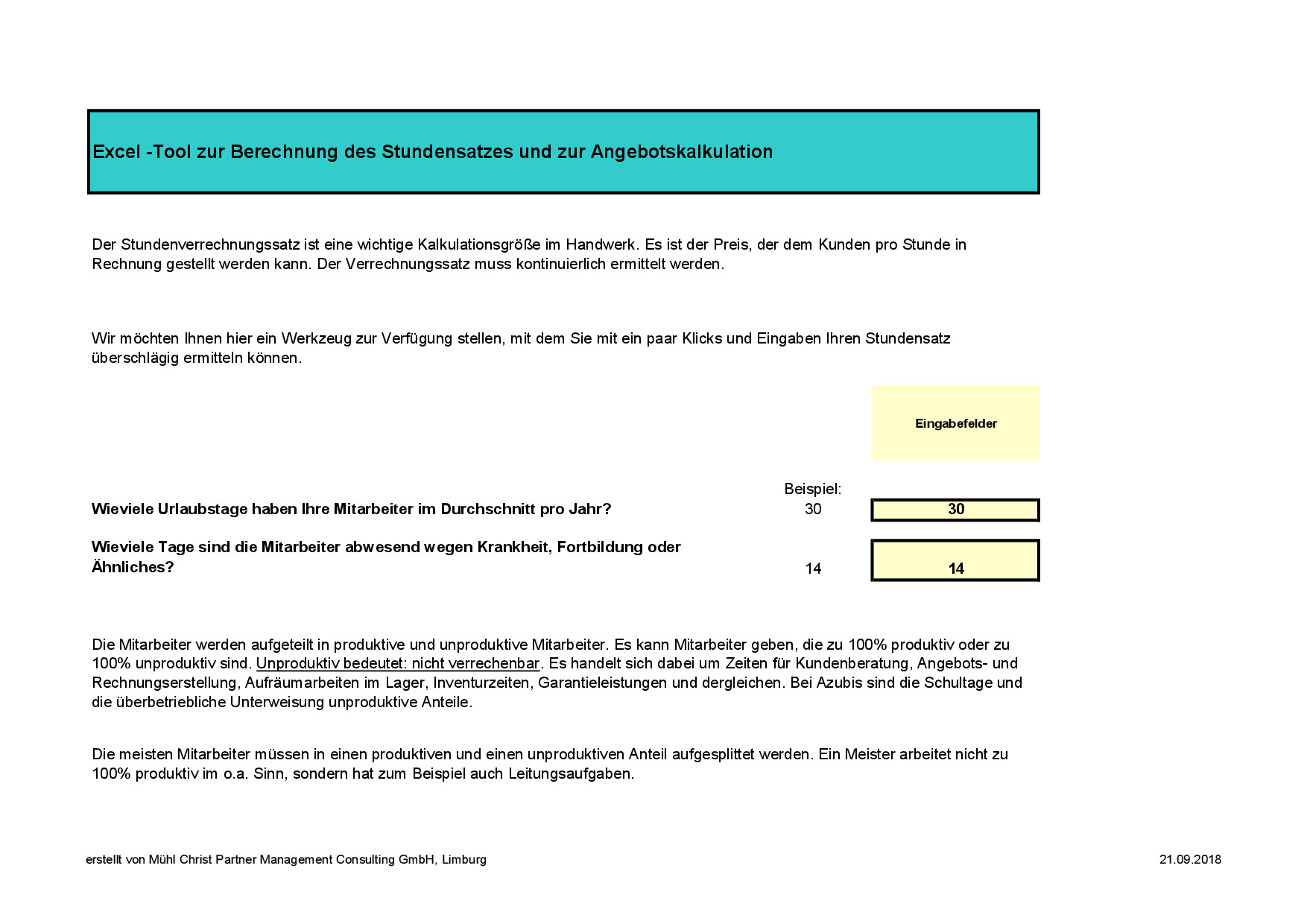 Berechnung Stundenverrechnungssatz Handwerk  Stundensatz Rechner kostenlos online