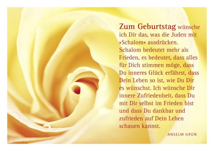 """Besondere Geburtstagswünsche  Glückwunschkarte """"Rose"""" mit Glückwunsch von Anselm Grün"""