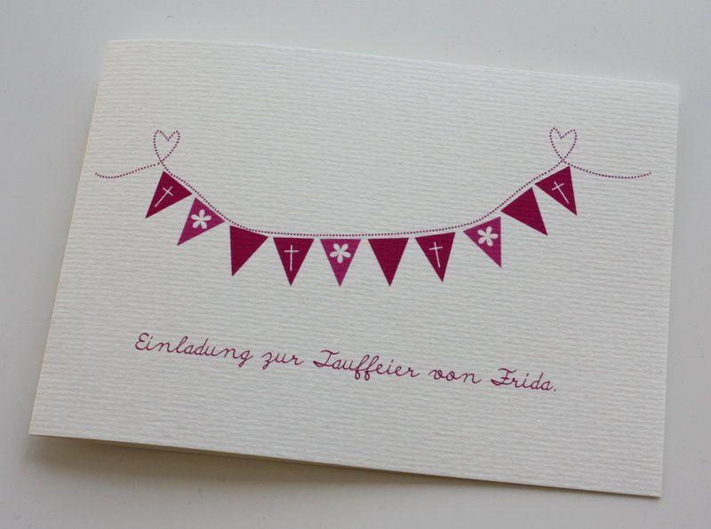 Besondere Geschenke Kommunion  Taufkarte oder Einladungskarte zur Tauffeier mit kleiner
