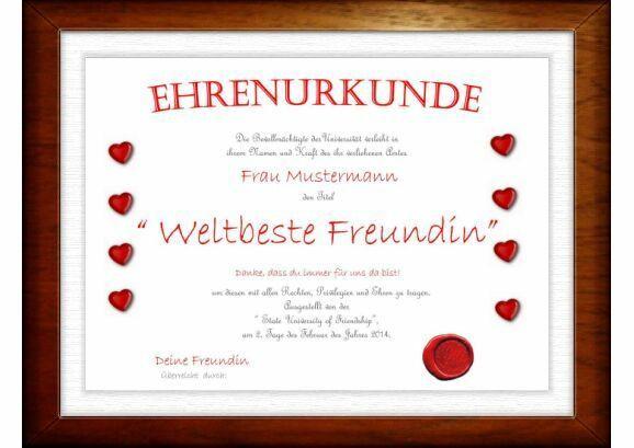 Beste Geschenke Für Freundin  Beste Freundin Diplom ein Geschenk das Freude bereitet