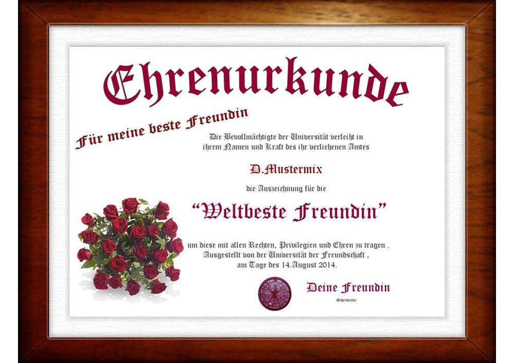 """Beste Geschenke Für Freundin  Urkunde für """" Beste Freundin"""" tolles das ganz"""