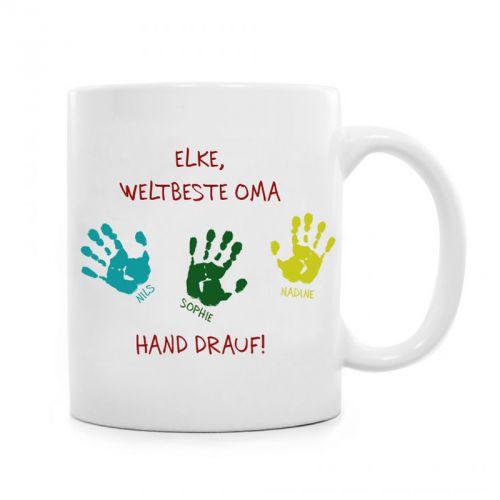 Beste Oma Geschenke  Tasse für Oma Hand drauf