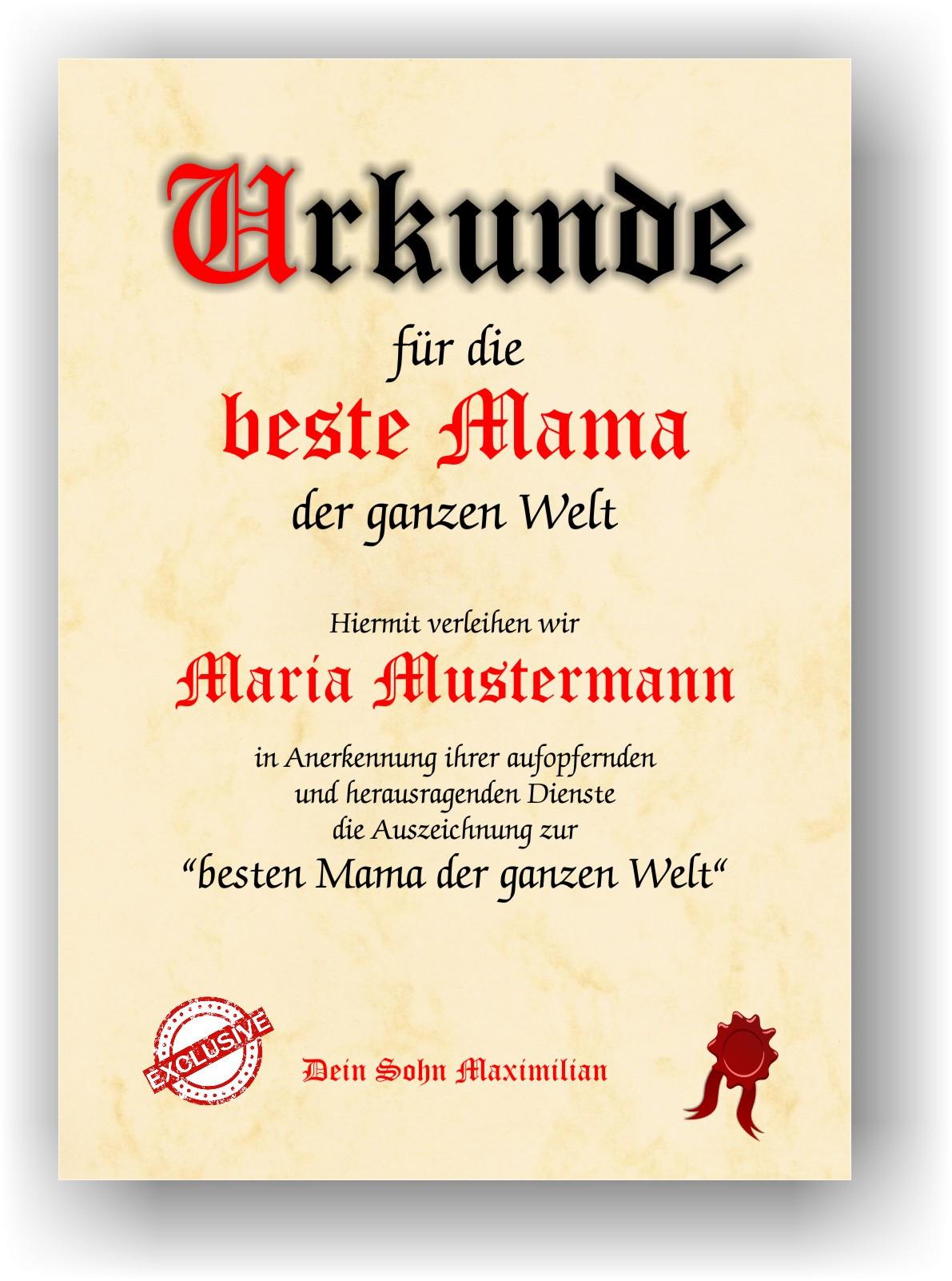 Beste Oma Geschenke  Geschenkurkunde Geburtstagsgeschenk Urkunde Geschenkidee