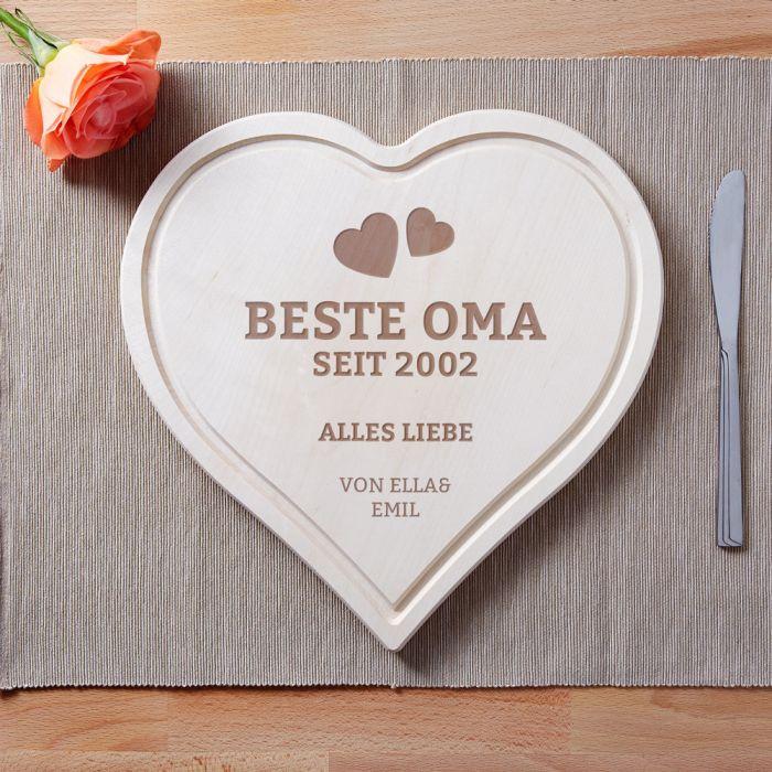 Beste Oma Geschenke  Graviertes Holzherz Beste Oma von Herzen mit Datum und Namen