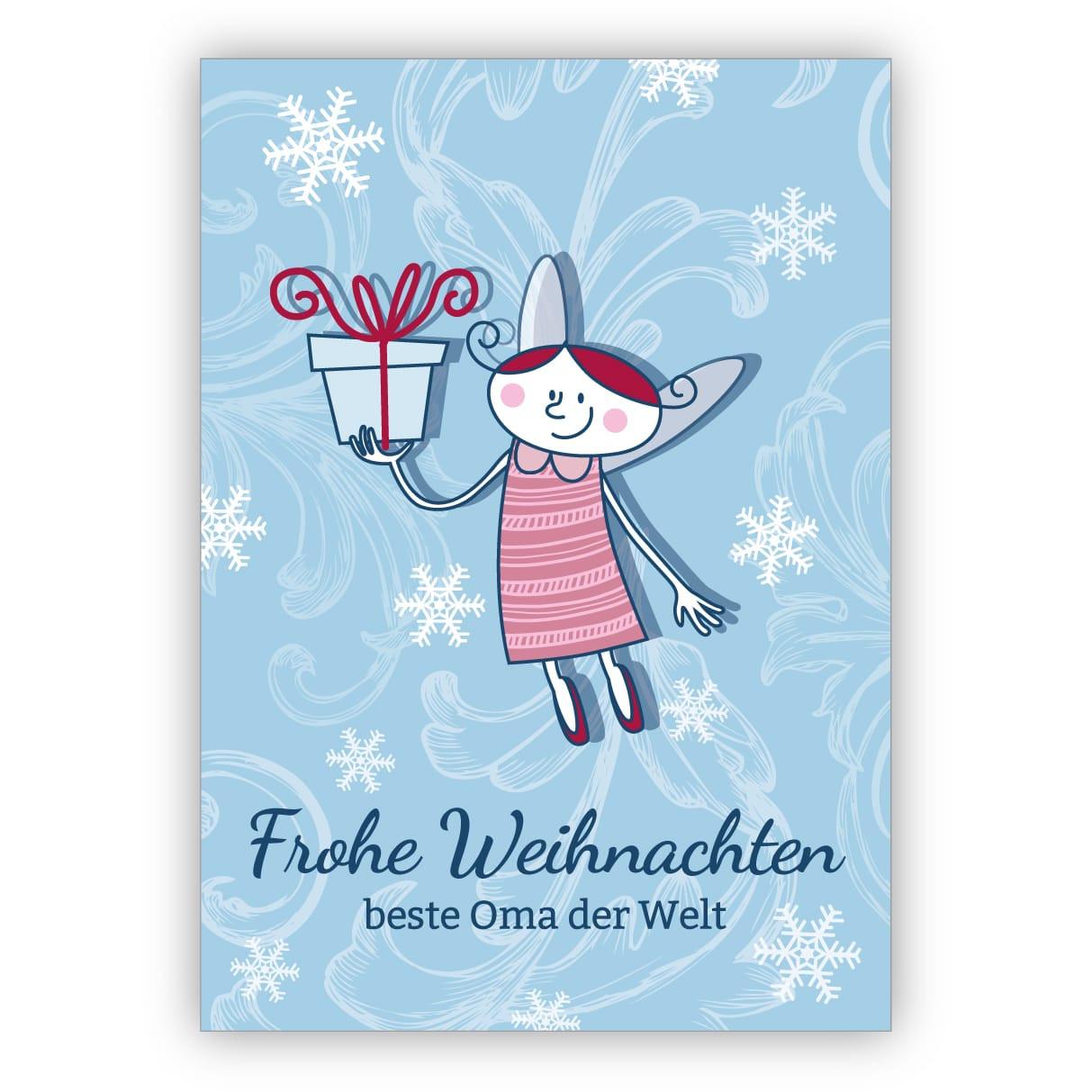 Beste Oma Geschenke  Niedliche Weihnachtskarte mit Geschenke Engel Frohe