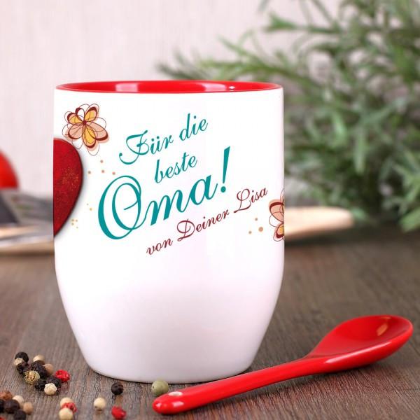 Beste Oma Geschenke  Tasse mit Löffel für beste Oma