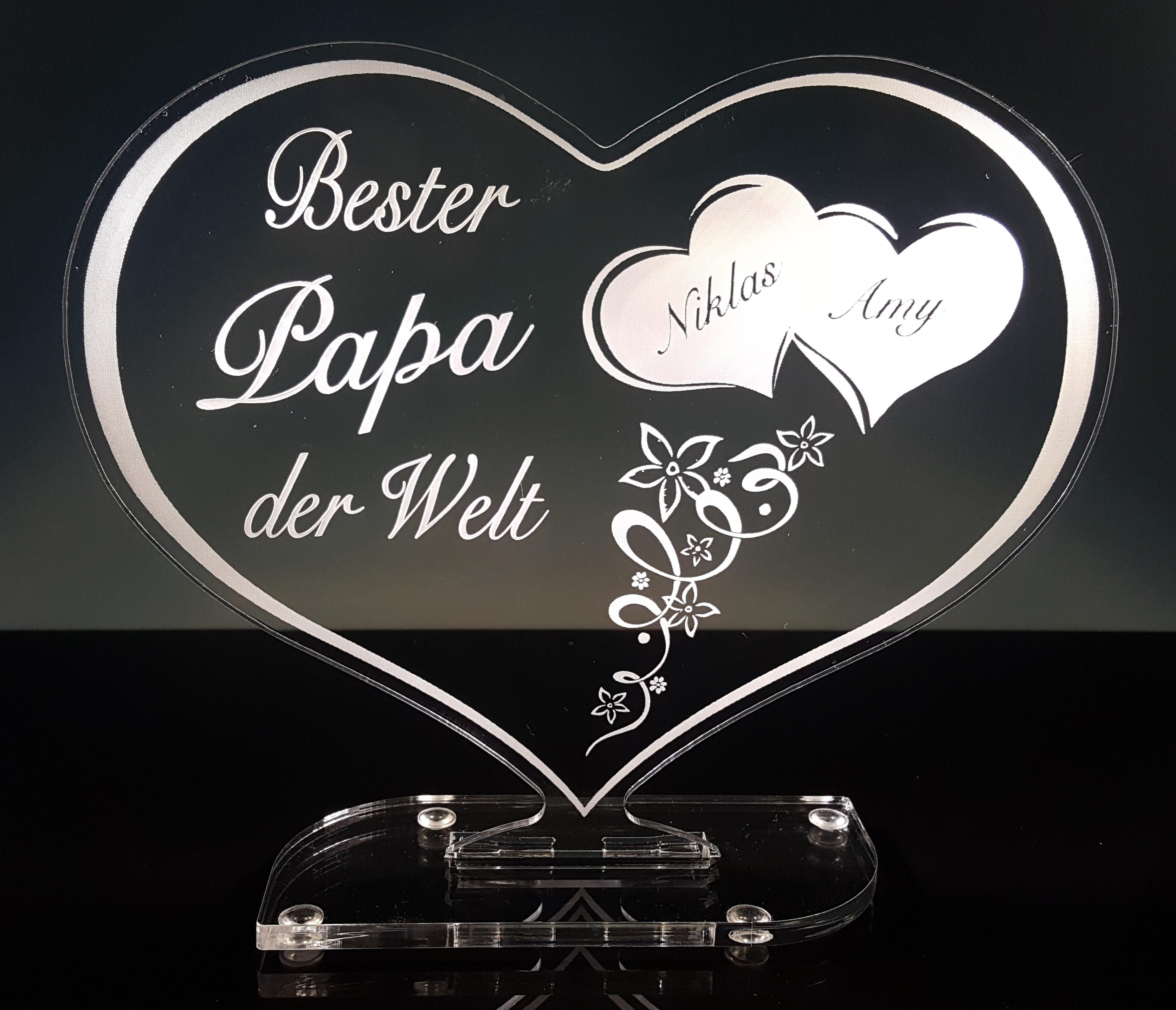 "Bester Papa Der Welt Geschenke  Laserprojects Acrylherz Geschenk ""Bester Papa der Welt"""