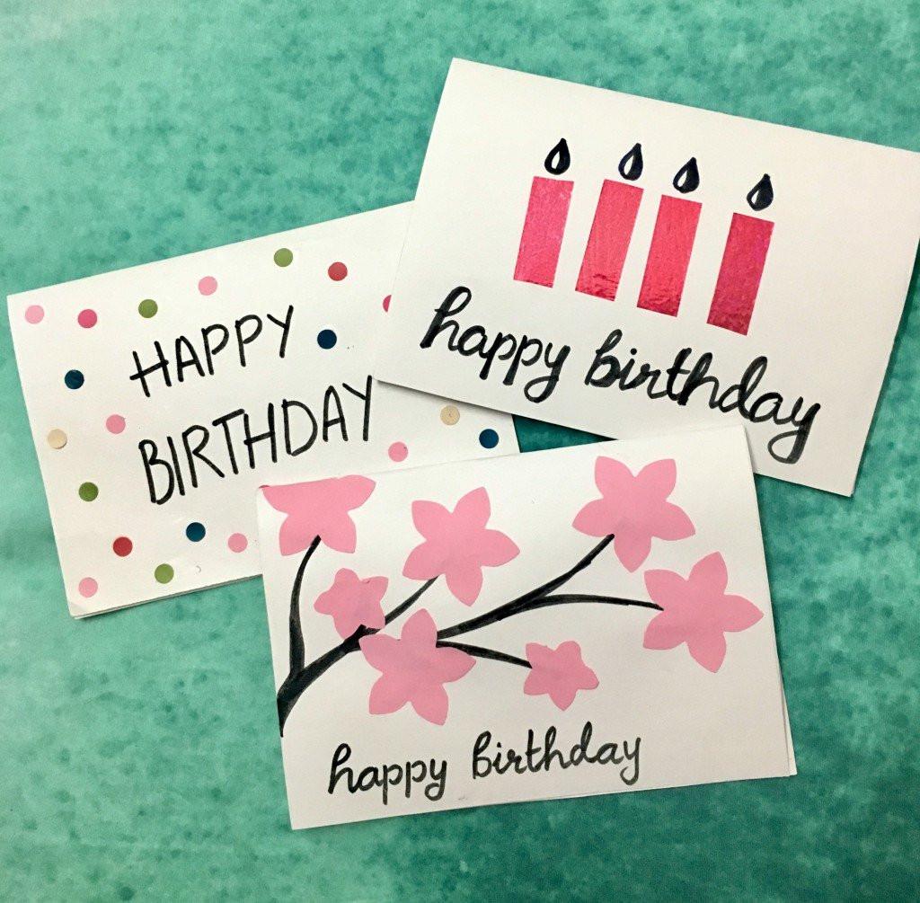 Birthday Cards Diy  3 Easy 5 Minute DIY Birthday Greeting Cards