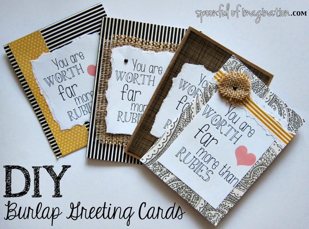 Birthday Cards Diy  DIY Burlap Greeting Cards Spoonful of Imagination
