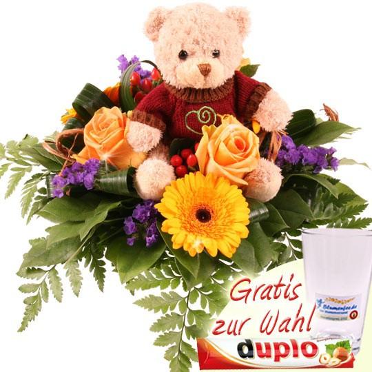 Blumen Für Geburtstag  Teddybär und Blumen Kuschel Flower Rico Kuschlige