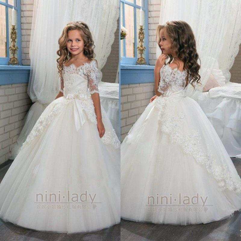 Blumenmädchen Hochzeit  Neu Blumenmädchen Kleider Ballkleid Mädchen Kinder Kleid