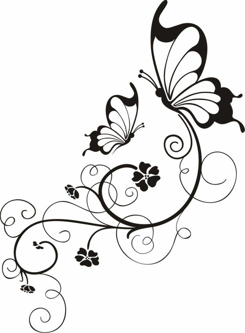 Blumenranken Ausmalbilder  Blumenranken Tattoo 20 schöne Vorlagen für diverse