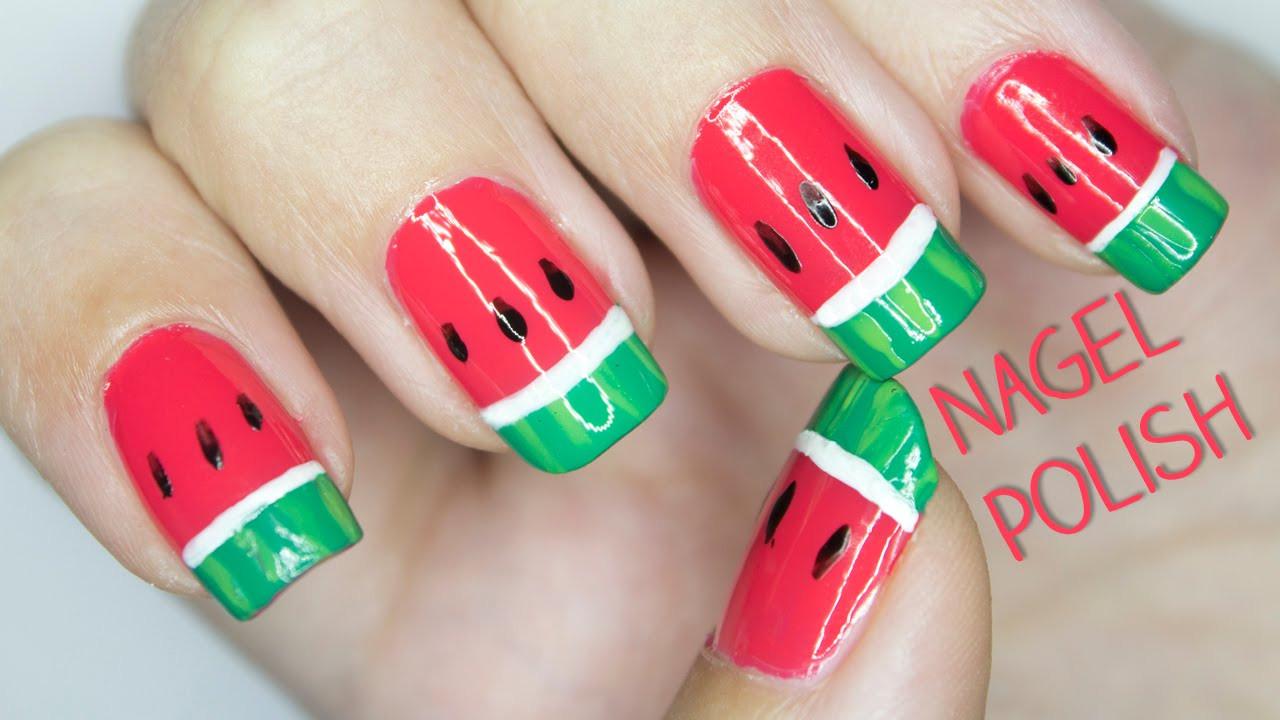 Coole Nageldesigns Kurze Nägel  Wassermelonen Nägel Tutorial