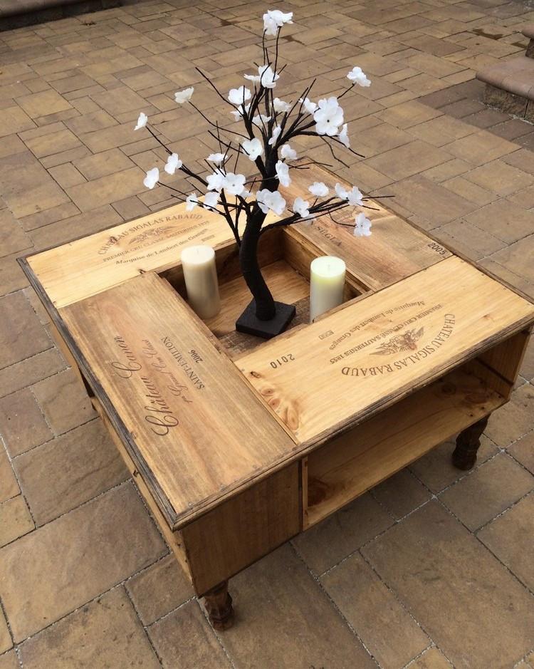 Couchtisch Diy  Tisch aus Weinkisten bauen 12 praktische DIY Ideen und