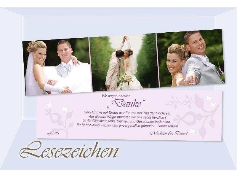 Danksagung Hochzeit Textvorschläge Modern  Danksagung Hochzeit Lesezeichen Karte Danksagungskarte flieder