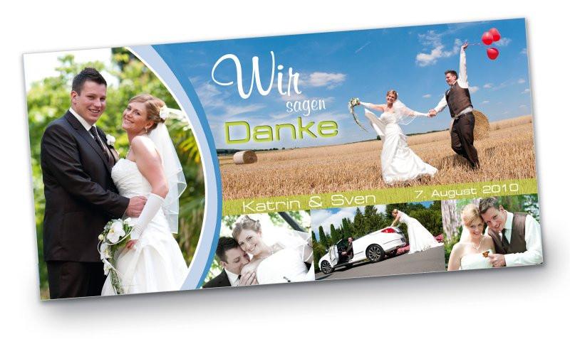Danksagung Hochzeit Textvorschläge Modern  Hochzeit Danksagungskarte DIN Lang quer Katrin Sven rot blau pink gruen modern Wedding Tree Karten