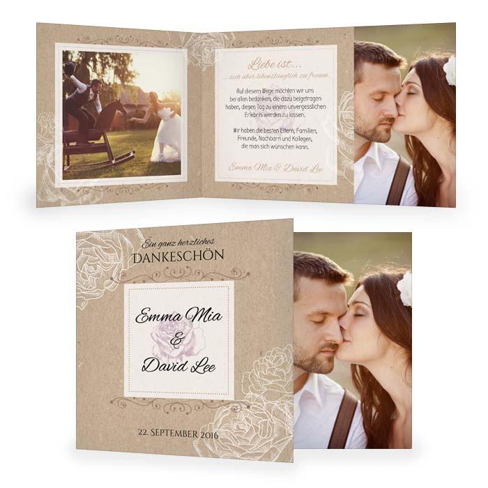 Danksagung Hochzeit Textvorschläge Modern  Danksagung zur Hochzeit in Kraftpapieroptik mit Rosen
