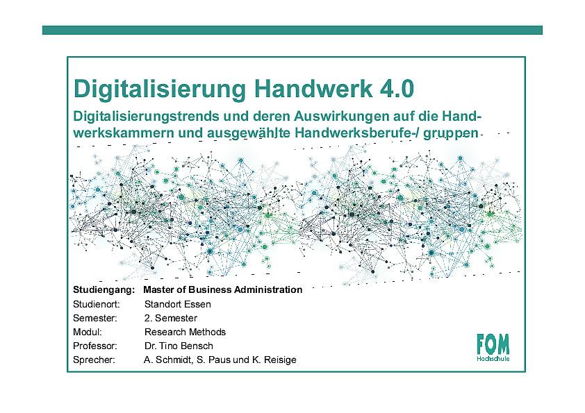 Digitalisierung Handwerk  Digitalisierung Handwerk 4 0