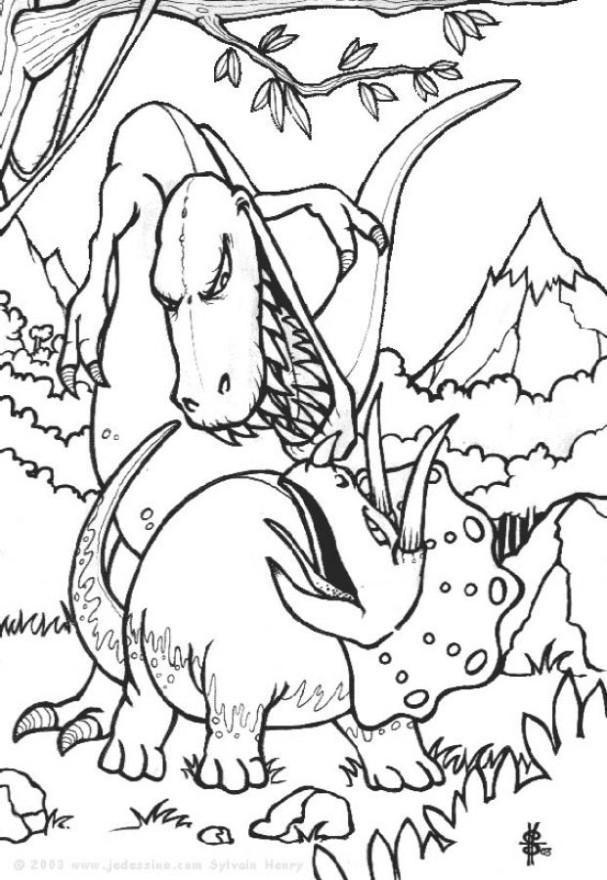 Dinosaurier Kampf Ausmalbilder  Malvorlage Dinosaurier Kampf