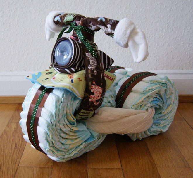 Diy Baby Geschenk  DIY Babygeschenk Windel Motorrad Baby