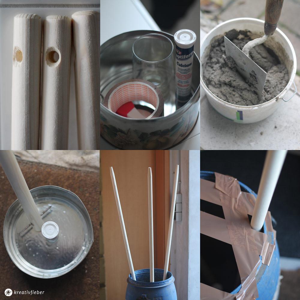 Diy Betonlampe  DIY Lampe mit Textilkabel und Beton DIY Stehleuchte