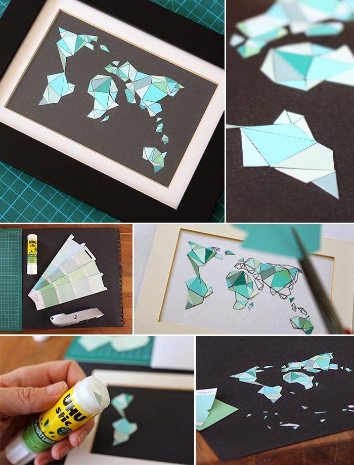 Diy Bilder  Do it yourself Mosaikweltkarte aus Farbkarten basteln