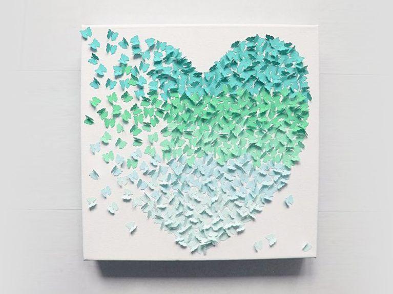 Diy Bilder  DIY Anleitung 3D Bild mit Schmetterlingen im Ombré Look