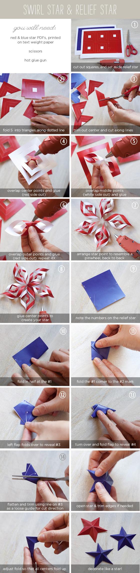 Diy Blog Deutsch  Origami Diy Th July Paper Stars The Elli Blog German