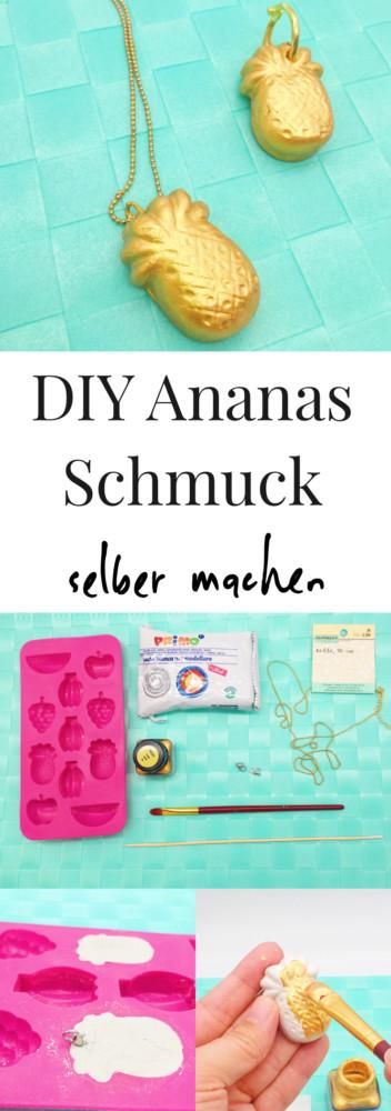 Diy Blog Schmuck  Ananas Schmuck selber machen Basteln mit Modelliermasse