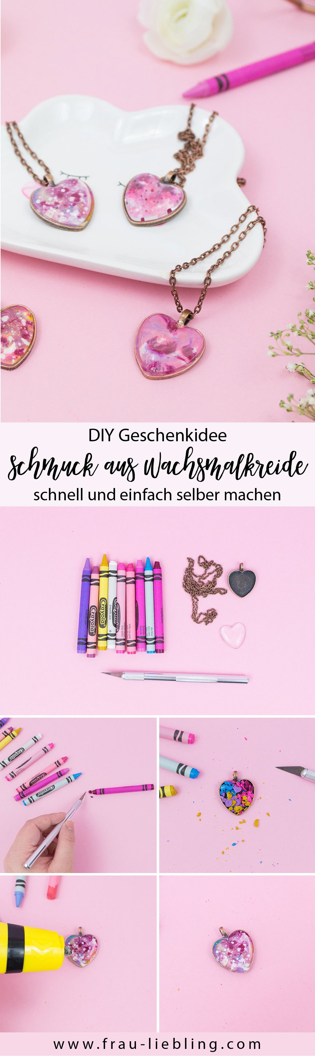 Diy Blog Schmuck  Geschenkidee DIY Schmuck aus Wachsmalkreide selber machen