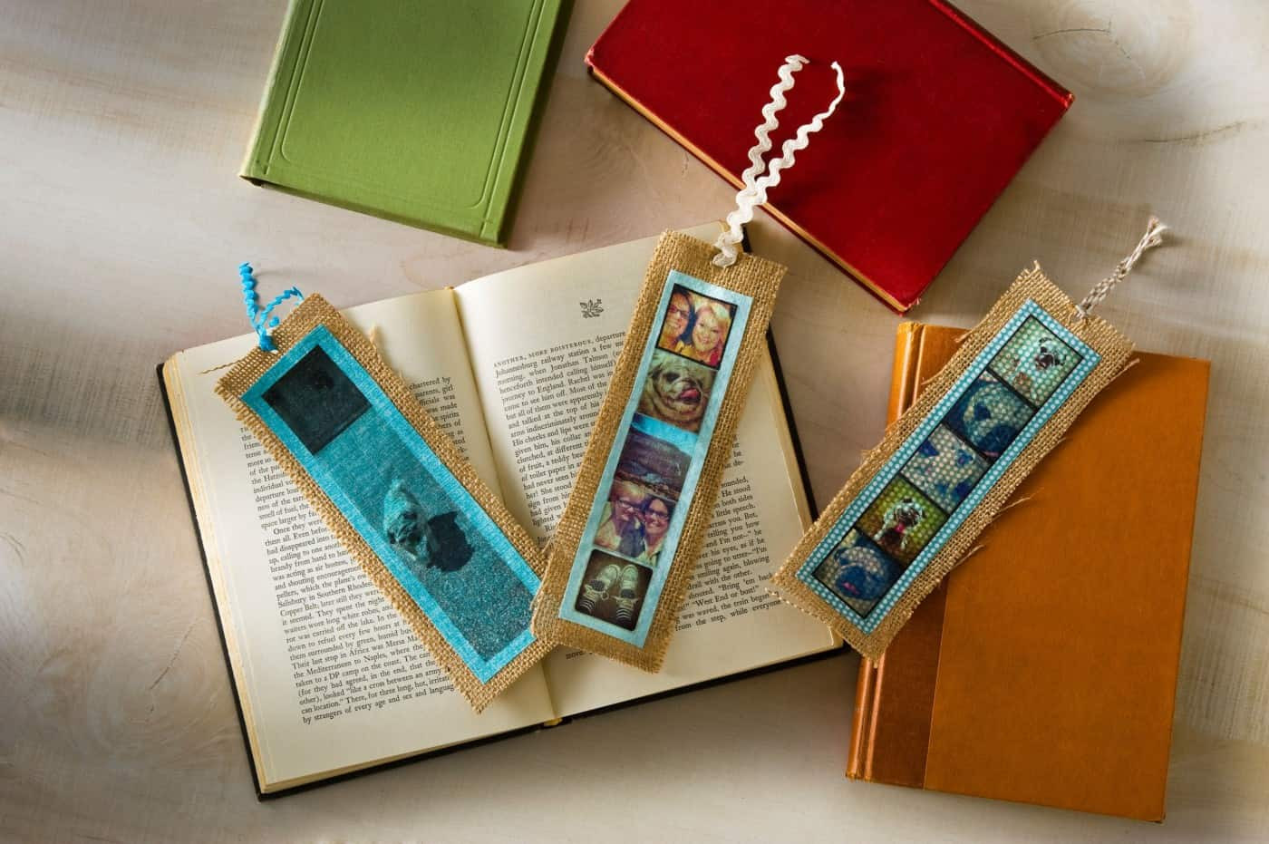 Diy Bookmark  Simple burlap DIY bookmarks with photos Mod Podge Rocks
