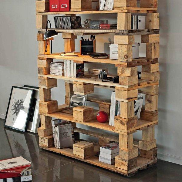 Diy Bücherregal  DIY Pallet Bücherregal Ideen coole Palettenmöbel Designs