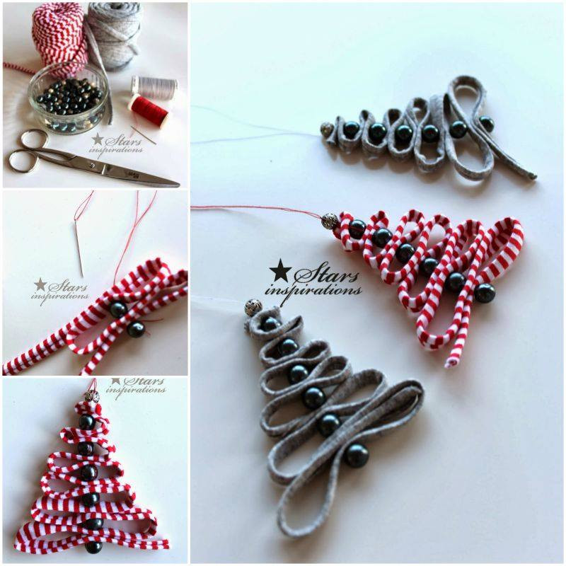 Diy Christmas Decoration  Wonderful DIY Ribbon Beads Christmas Tree