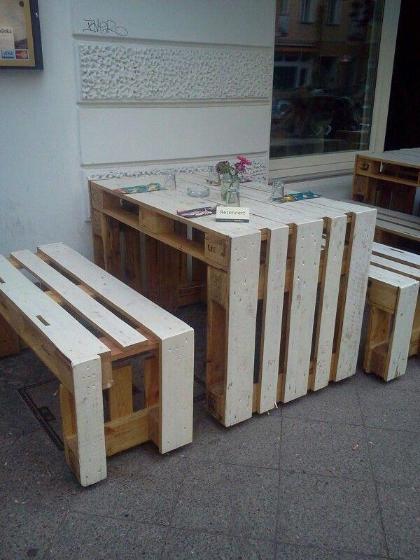 Diy Europalette  diy Europalette Tisch Bank DIY Pinterest