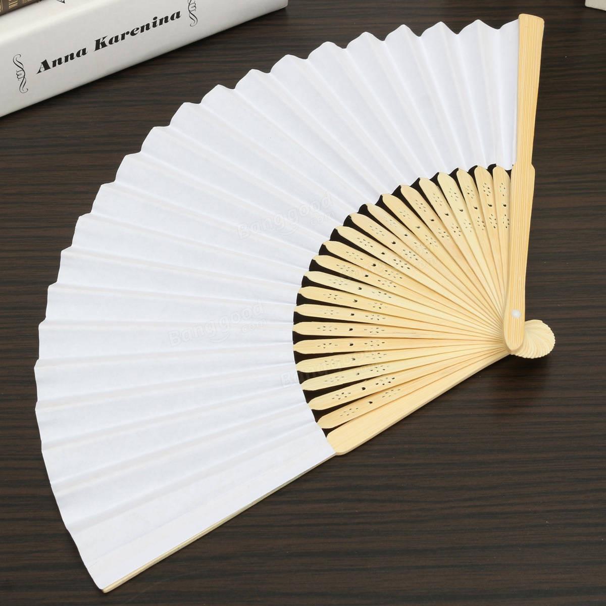 Diy Fan  Simple Blank DIY Paper Hand Folding Fan Wedding Party