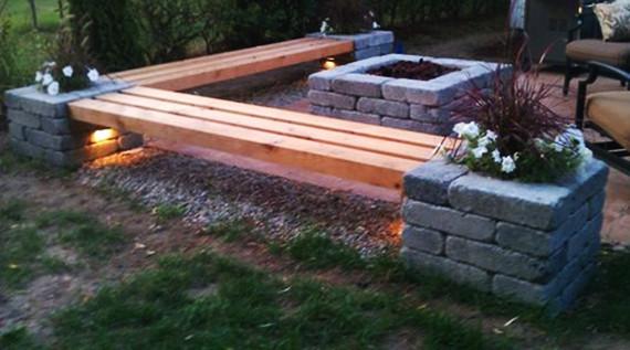 Diy Feuerstelle  50 coole Garten Ideen für Gartenbank selber bauen fresHouse