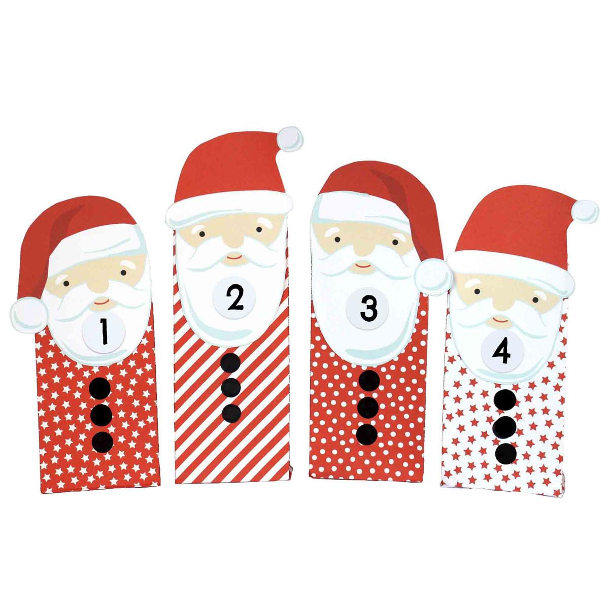 Diy Für Kinder  DIY Adventskalender Weihnachtsmänner mit roten Tüten
