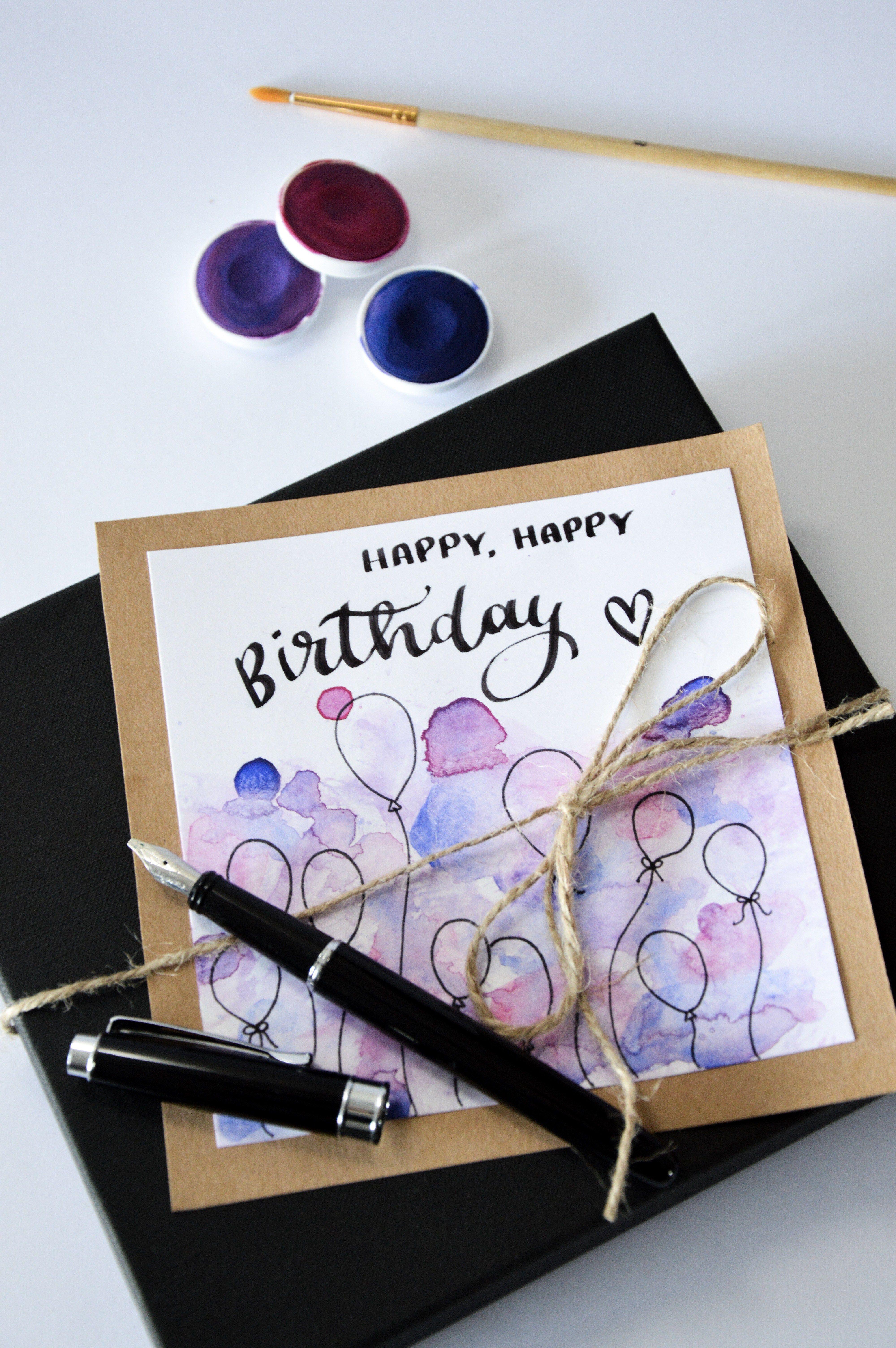 Diy Geburtstagskarte  Cretacolor Kalligrafie Set & selbstgemachte