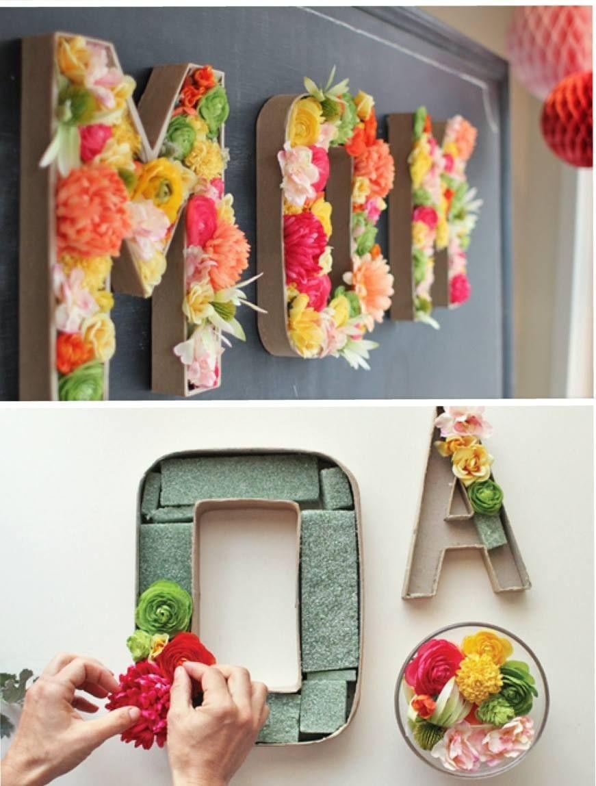 Diy Geschenke Oma  Blumen Buchstaben